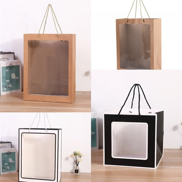 PVC Transparent Ivory Board Bags Paper Material Flowers Wrap Bag Plush Doll Clothes Wraps Sacks Hot Selling 2 85xm2 L1