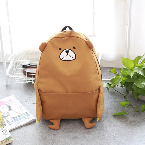 2018 new cartoon bear shoulder bag Funny bear canvas student bag large capacity cute backpack Y201