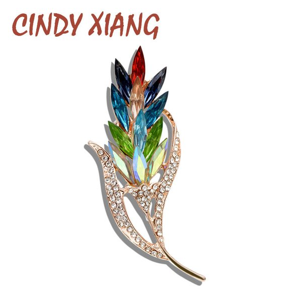 Cindy Xiang Multi-color Crystal Wheat Brooches For Women Rhinestone Brooch Pin Fashion Jewelry Coat Dress Corsage Flower Style T190622