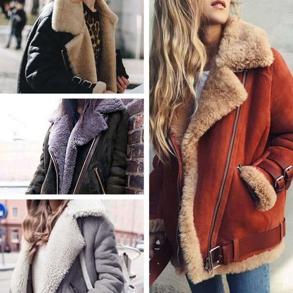 Women Bomber Jackets Faux Suede Fur Coats Warm Fleece Lamb Wool Outwear Coats Winter Ladies Lapel Motorcycle Jackets Zipper Overcoat 5XL