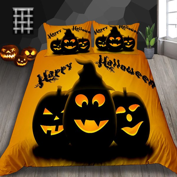 Pumpkin Lantern Print Bedding Set Halloween Twin Simple High End Duvet Cover King Classic Queen Double Full Single Bed Cover with Pillowcase