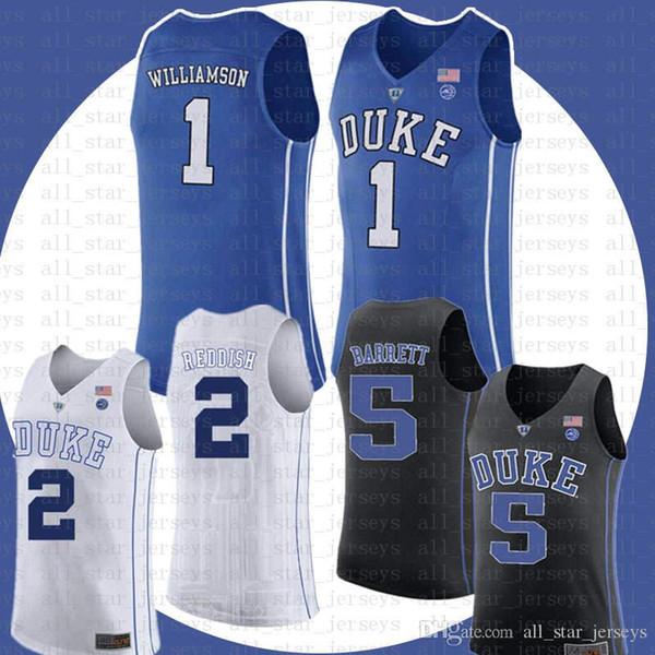 29c86ac23ffc NCAA Duke Blue Devils 1 Zion Williamson 5 R.J. RJ Barrett Basketball Jersey  2 Cameron Reddish