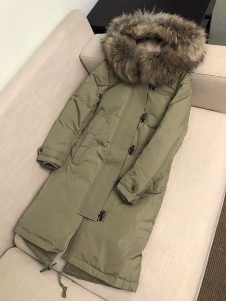 NEUES 2019! Frauen Winter dicken weißen Ente Daunenmantel / große Qualität Markennamen lange Art warmen Daunenmantel / Dicke Mantel mit Fell B75010 3 FARBEN