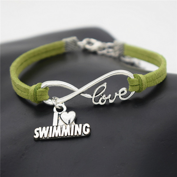 2019 Korean Hot Fashion Infinity Love I Heart Swimming Pendant Charm Bangles & Bracelets Women Men Handmade Green Leather Suede Rope Jewelry