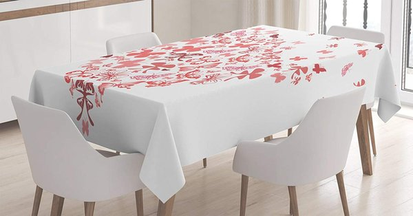 Love Decor Tablecloth Butterfly Heart Valentine Anniversary Celebration  Fashion Decorating Art Dining Room Kitchen Table Cover Spring Tablecloths  ...