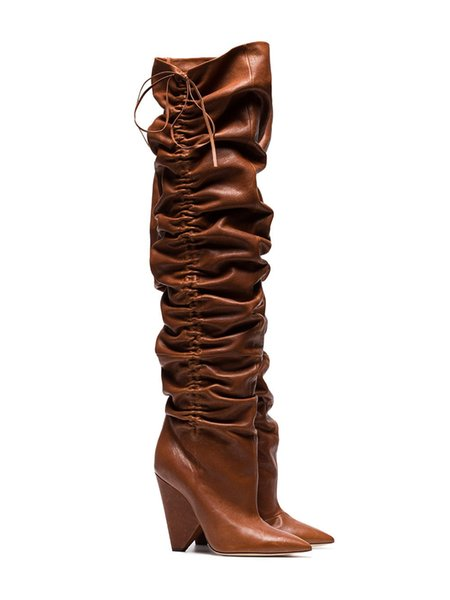 Sestito 2019 Neswest Women Fashion Pleated Spike High Heels Knee High Boots Girls Slip-on Pointed Toe Dress Runway Shoes Lady