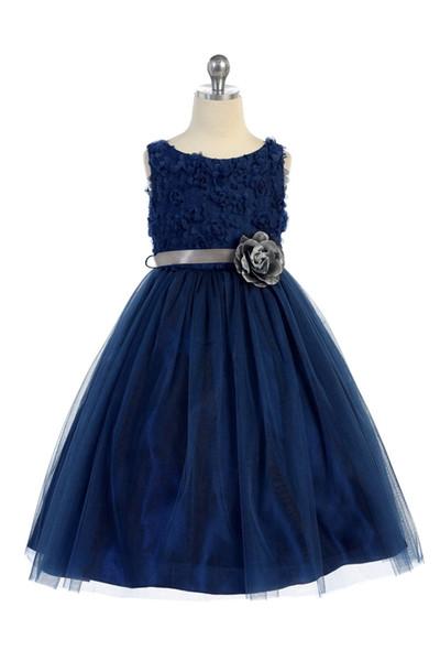 Hot Sale Princess Navy Blue Designer Kids Dresses A Line Tulle Jewel Neck Flowers Bodice Formal Wear Kids Pageant Dresses Girls Party Gowns