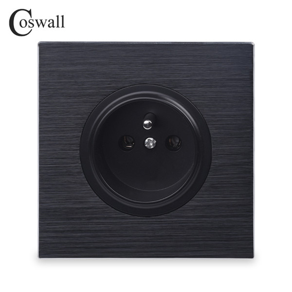 Luxurious Black Aluminum Panel 16A French Standard Wall Power Socket Outlet Grounded With Child Protective Lock