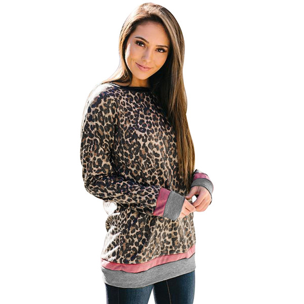 Leopard Print T-shirt for Women O-Neck Long Sleeve Splice Tunic Tee Shirt Femme Casual Ladies Tops Pullovers Brown chemise femme