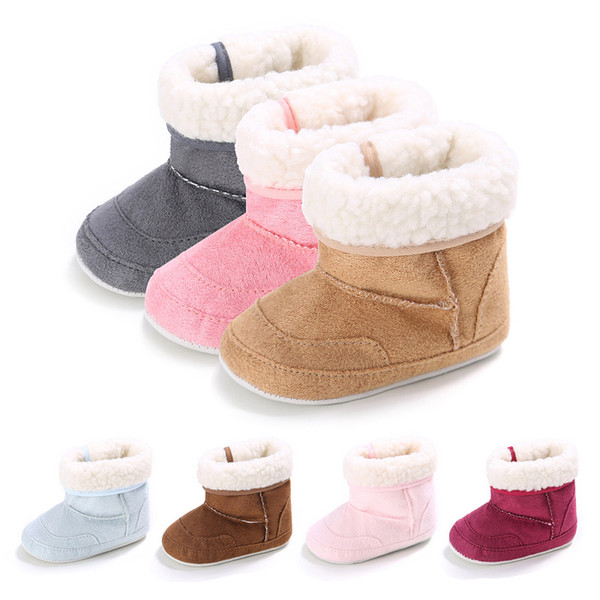 2019 Hot Sale Winter Warm First Walkers Baby Ankle Snow Boots Infant Crochet Knit Fleece Baby Shoes For Boys Girls