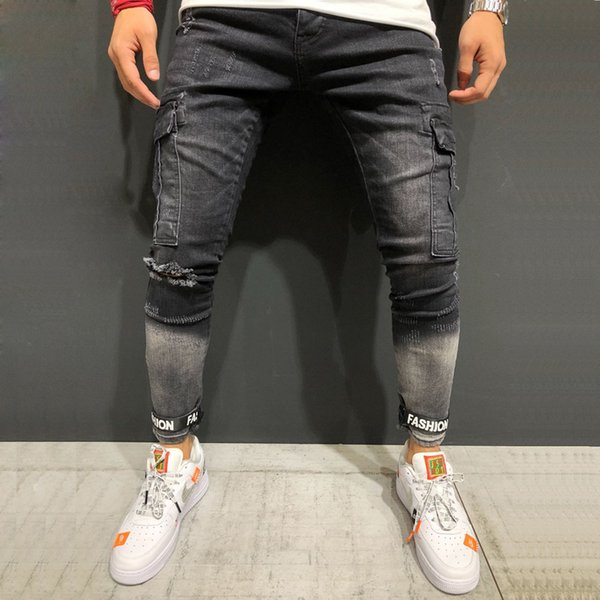 New Fashion Men's Jeans 2019 Hole Pocket Jeans