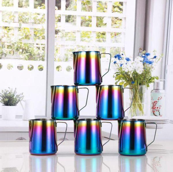 350ML 600ML Pull fleur tasse à café Pichet café en acier inoxydable Lait eau Pots bouilloires Teapot Cup AN2666