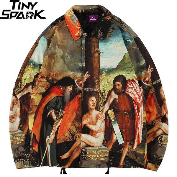 Men Hip Hop Jacket Streetwear Ancient Life Retro Vintage Jacket Windbreaker Harajuku 2019 Autumn Jacket Coat Street Wear Hipster SH190808