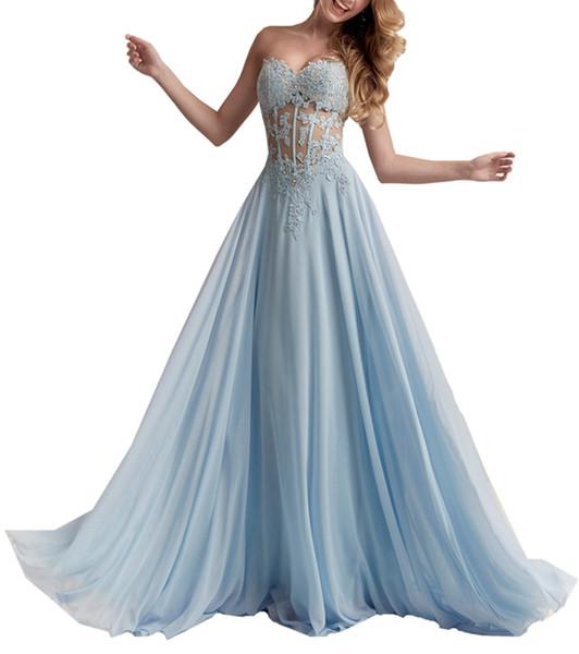 Sexy Illusion Hellhimmelblau trägerlos eine Linie Abend-elegante schöne Kleider Spitze-wulstige Abend-formale Kleider D01 gekleidet