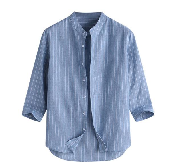 Homens Verão s Casual suporte listrado Collar luva dos três quartos Botão Cotton linho shirt masculino Hot Sale solto Top Para 2019 Moda