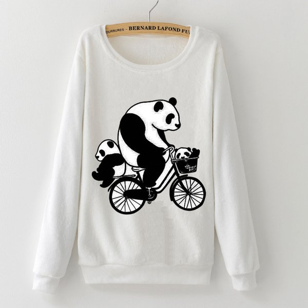 Panda Mother Send Children To Study Harajuku Sweatshirts Woman Hoodies Winter Soft Flannel Long Sleeve Girl Pullovers Tops