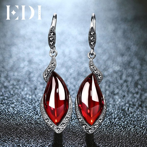 Edi Vintage Gemstone Thai 925 Silver Garnet Wedding Drop Earring 925 Sterling Silver Statement Earrings Women Jewelry J 190511