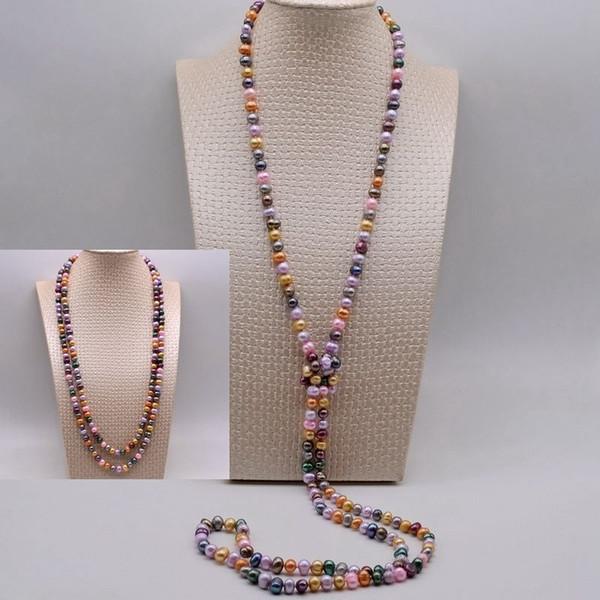 Collar largo estilo multicolor con collar de perlas naturales de agua dulce, suéter casual con una variedad de estilos de escote.