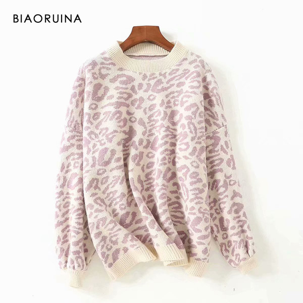 BIAORUINA Women's Fashion Leopard Knit Sweater O-neck Female Casual Keep Warm Oversized Pullover Ladies Sweet Thick SweaterMX190928