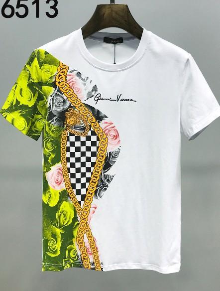 Été 2019 de coton bonne t-shirts hommes en gros européenne col rond en velours à manches courtes hommes qualité de bienvenue à la taille m-3 xl 0153