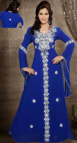 2019 New Royal Blue Chiffon Abiti da sera perline maniche lunghe in chiffon abito formale Moda Abaya Kaftan Dubai Gowns