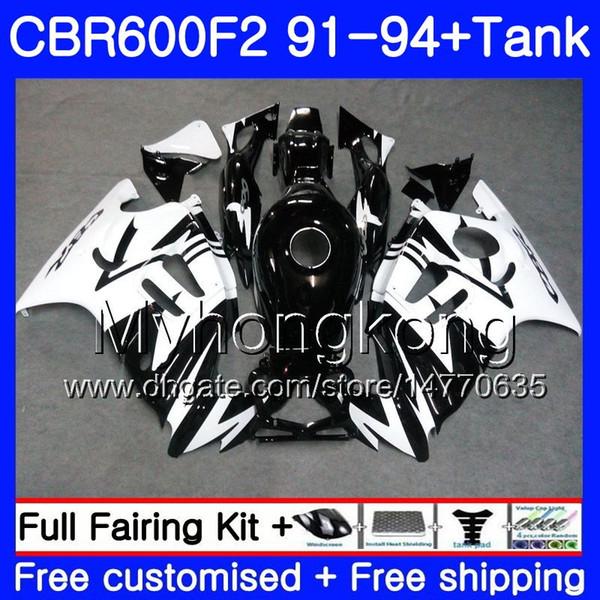 Cuerpo + tanque para HONDA CBR 600F2 CBR600FS CBR600F2 91 92 93 94 288HM.1 CBR 600 F2 FS CBR600 F2 1991 1992 1993 1994 Negro blanco HOT kit de carenado