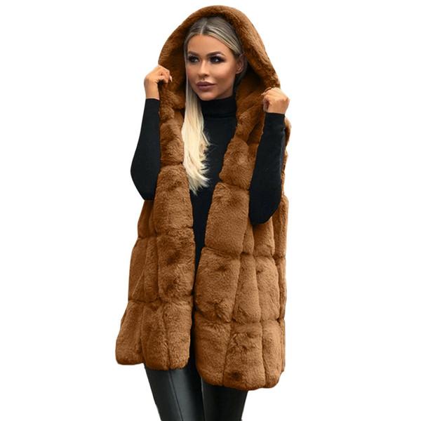 chamsgend winter women jacket faux fur vest coat hooded waistcoat side zipper stitch leather outwear female man-made vest 1106