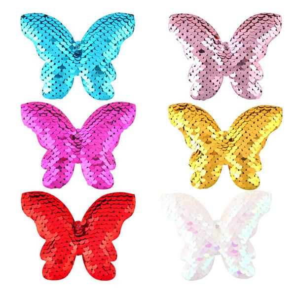 Fashion Cute hair bows sequin baby Hair Clips Girls Barrettes 3D butterfly Girl HairClips kids Hair Accessories A2839