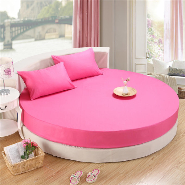 Circular Round bed Fitted Sheet 100%Cotton Bed Sheets with Elastic Rubber Bed set Mattress cover Pillowcase Yellow Pink