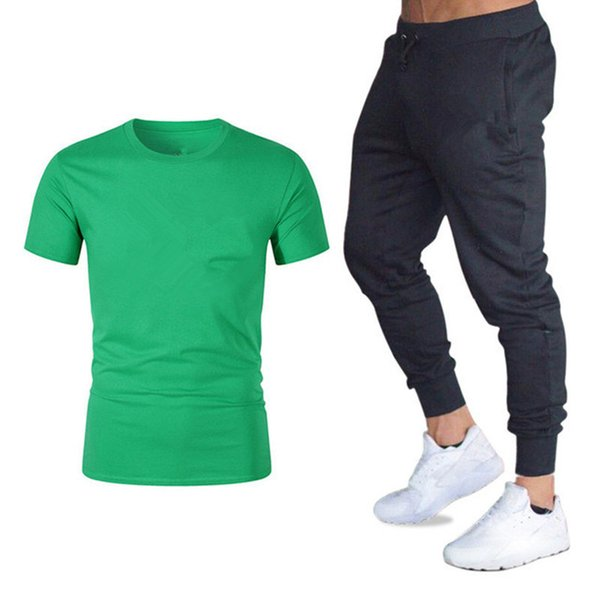 Brand Mens Sets T Shirts +Pants Two Pieces Sets with Logo Casual Summer Tracksuit Tide Brand Tshirt Gyms Fitness Sportswears Set M-2XL