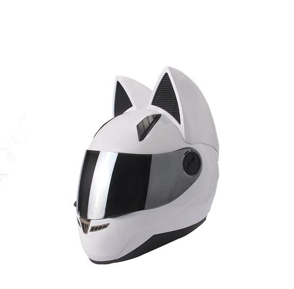 Kedi kulakları siyah beyaz pembe sarı çok renkli moda ile NITRINOS motosiklet kask tam yüz