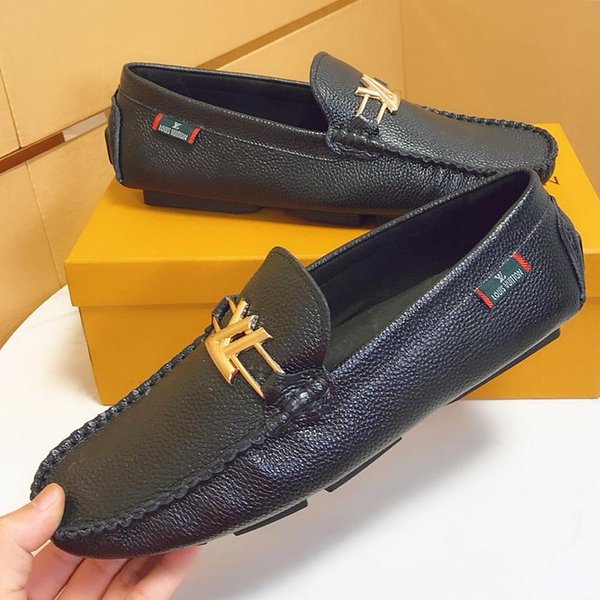 2019 summer new top craft men's design dress shoes leather metal snap peas wedding shoes classic fashion men's shoes large size loafers qp