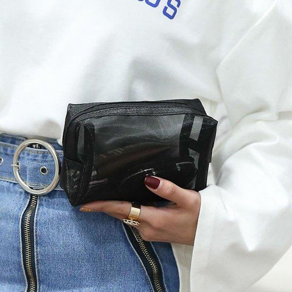 Косметическое Женщины большой емкости Прозрачный макияж сумка Портативный туалетных Zipper Mesh Организатор путешествий Хранение Wash мешок