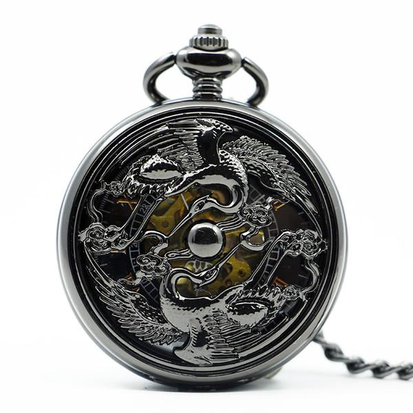 Exquisite Vintage Chinses Dragão Phoenix Pingente Preto Relógio de Bolso Mão Mecânica Vento Presente PJX1214
