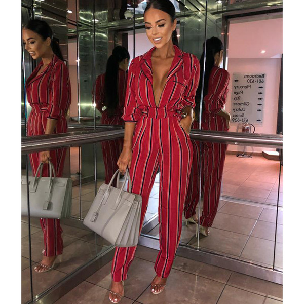 Fashion Striped Printed Jumpsuits For Women Half Sleeve Turn Down Collar Long Rompers Womens Jumpsuit Autumn New Overalls Q190521