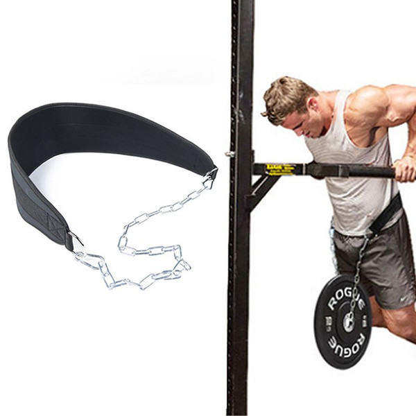 top popular Fitness Weight Belt Adjustable Dipping Belts Pull-up Muscle Training Back Support Strap With Chain Single Double 2021