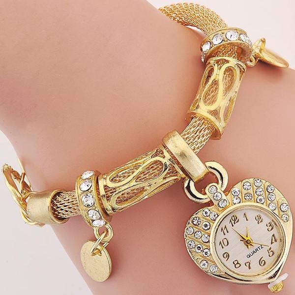 Crystal Gold Charm Bracelets Heart Quartz Wrist Watch Charms Bracelet For Women Fashion FQL811