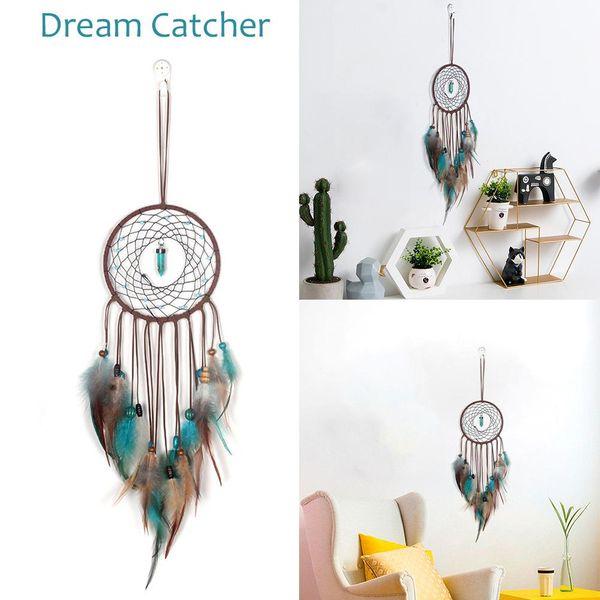 Tüyler Duvar Dreamcatcher Craft Hediye Ev Dekorasyon Asma ile 2020 Rüzgar Çanları El yapımı Hint Dream Catcher Net