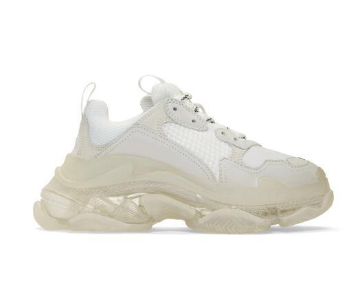 new release paris white triple s clear sole sneakers low-panelled technical mesh leather sneakers colorblocked white triple s trainers s