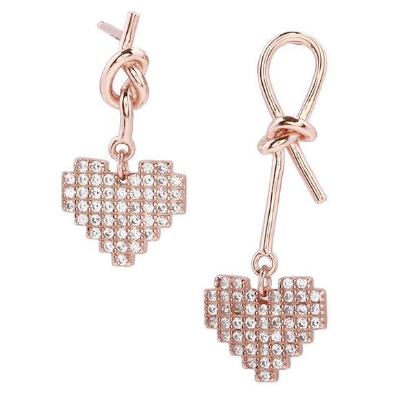 925 Silver Flash Drill Loving Asymmetric Earrings Personality Small Ear Nails New Type 2019
