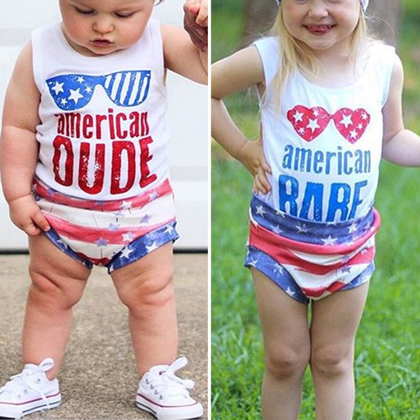 Toddler Kids Girls Suits with Hairbands Child Boys american DUDE Letters Blue Red Glasses Sleeveless Tops Independence Day Outfits 1-6T