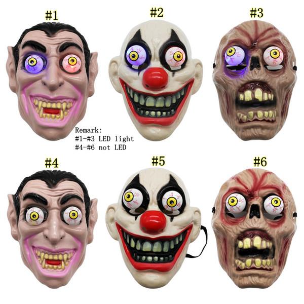 Palyaço Vampir Göz Maskesi Kostüm Tema Performans Masquerade Tam Yüz Parti Maskesi MMA2491 için Led Işık Cadılar Bayramı Korku Maskesi
