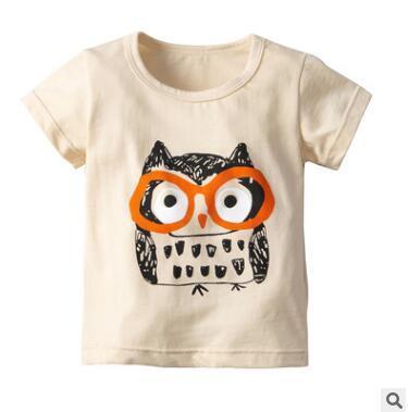 Çocuklar Erkek Kız Karikatür Hayvan Baykuş Tops T Shirt 2019 Yaz Kısa Kollu Pamuklu Tişört Tops Tee Gömlek Çocuk Giyim Tops Bebek Giysileri