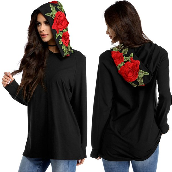 New Hot Fashion European and American style large flowers embroidered hooded long-sleeved women's Casual Sweatshirt Hoodie