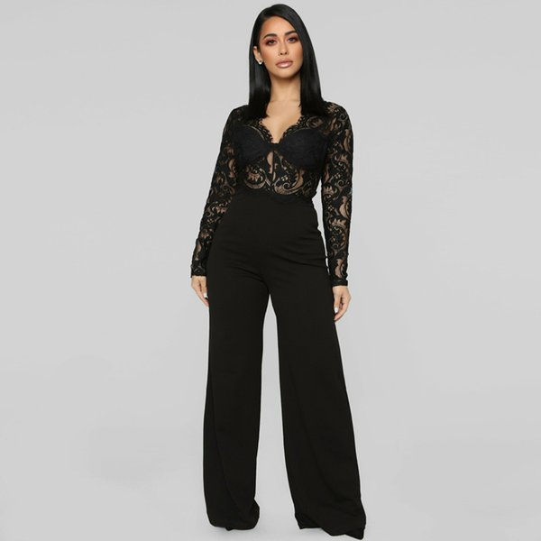 2019 2019 Summer Fashion Nova Woman Jumpsuit Elegant Transparent Bodycon  Romper Bell Bottom Jumpsuit Long Sleeve Black Lace Overalls From Amarylly,
