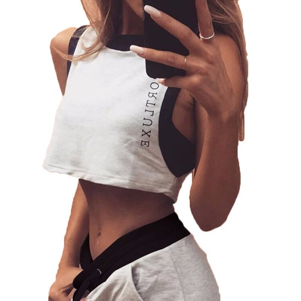 2019 Leisure Time Sleeveless Shorts Motion Two Piece Clothing Set Women Summer Top Pant Suits New Arrivals Fashion Gray Casual