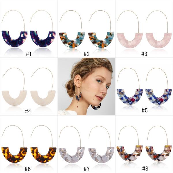 New leopard print U shape Dangle Earrings For women Geometric Acrylic Acetic Acid Statment Drop Earring 2019 Bohemia Jewelry