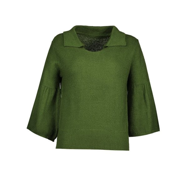 Casual Sweater Women Winter Warm Green Simple Stylish Knitwear Autumn Pullover Top Elegant Ladies Flare Sleeve Knitted Jumpers