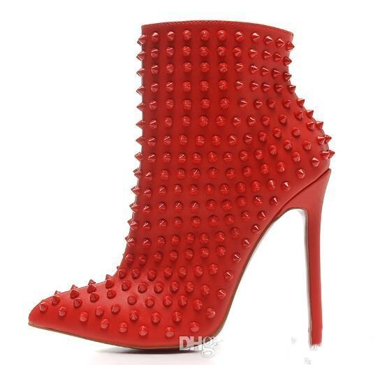 Luxury Black red Leather with Spikes Pointed Toes Womens Ankle Boots Fashion Designer Sexy Ladies Red Bottom High Heels Shoes Pumps