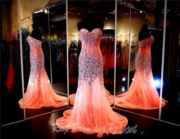 Coral Strapless Sweetheart Heavily Beaded Mermaid Prom Dress Bling Bling Crystals Sexy Evening Dress Pageant Dress